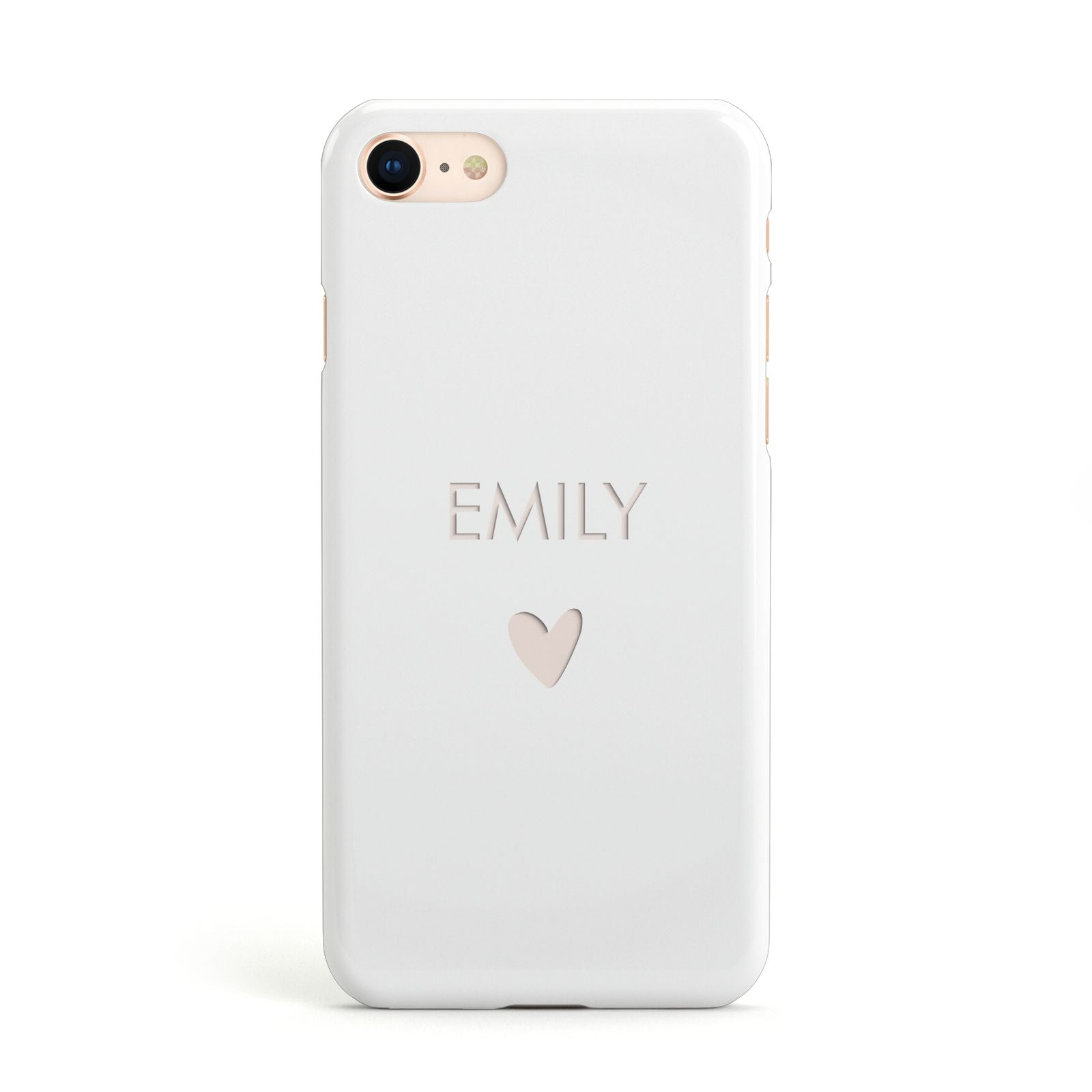 Personalised Cutout Name Heart Clear White Apple iPhone Case