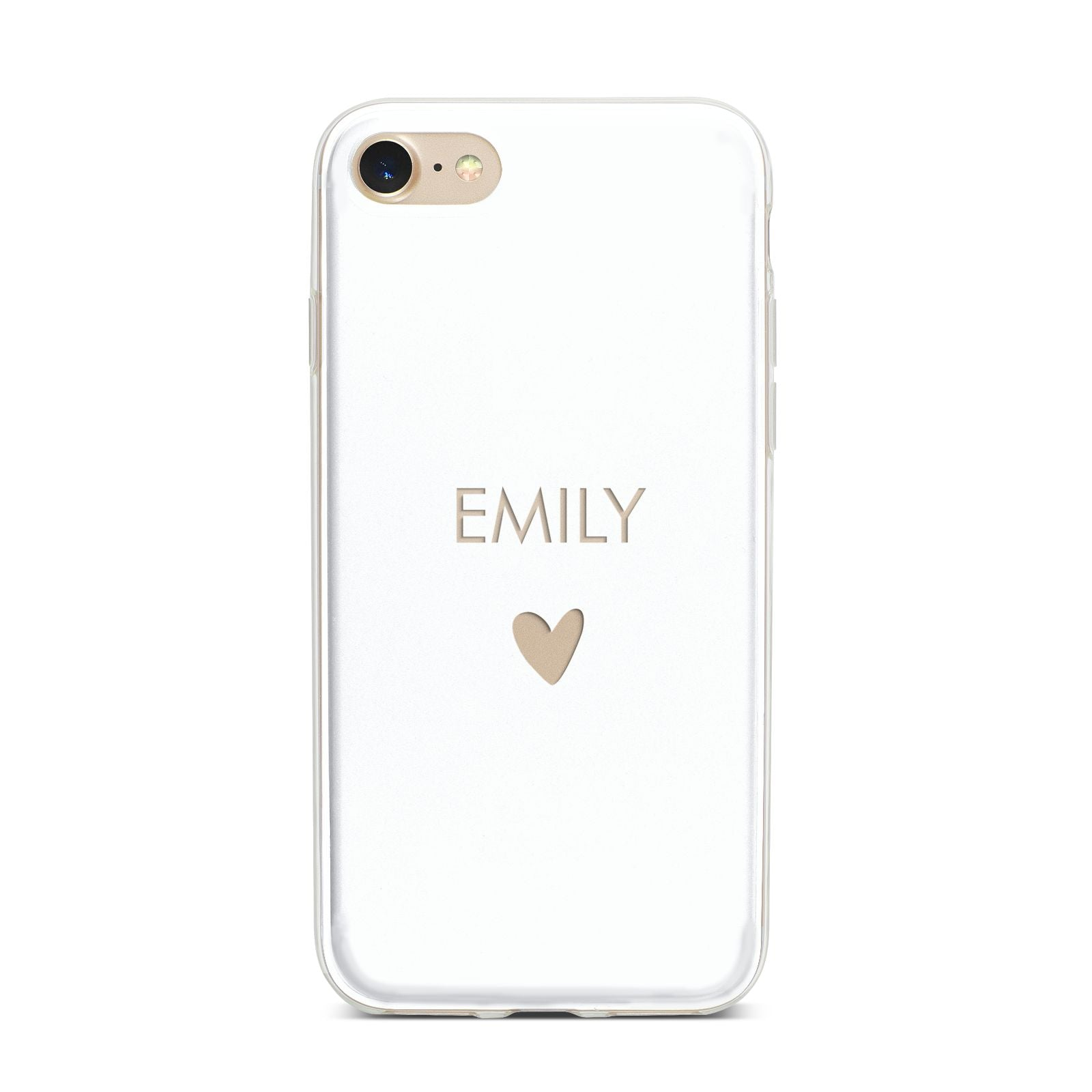 Personalised Cutout Name Heart Clear White iPhone 7 Bumper Case on Gold iPhone