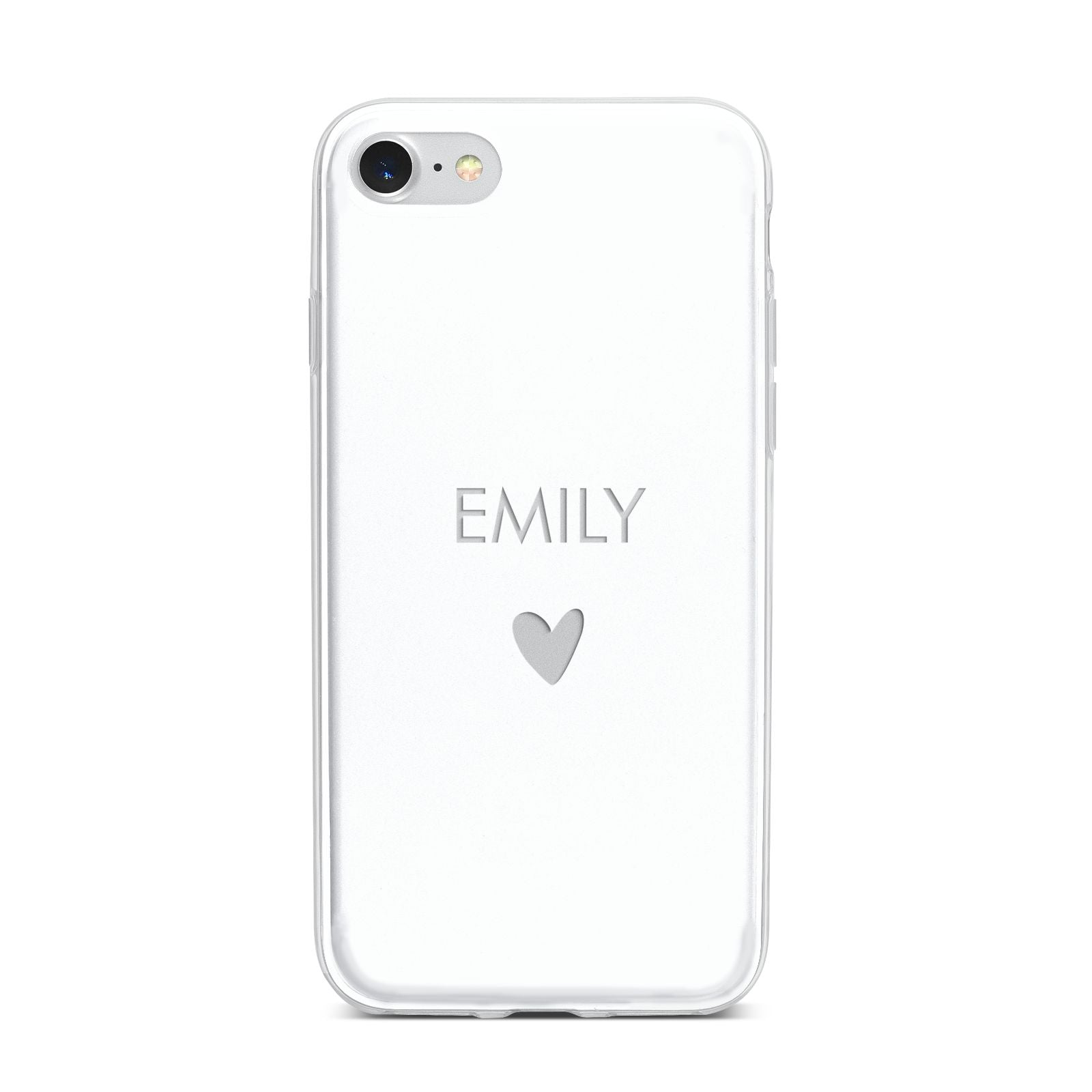 Personalised Cutout Name Heart Clear White iPhone 7 Bumper Case on Silver iPhone