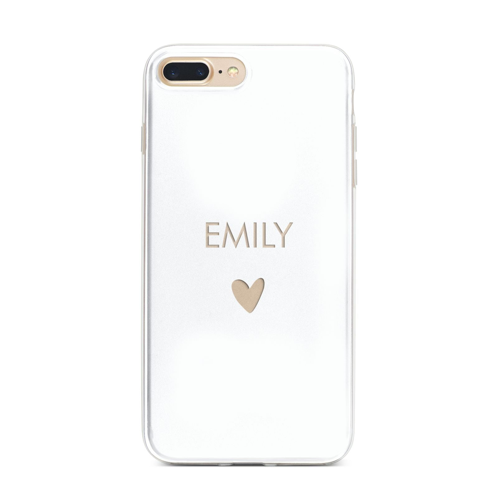 Personalised Cutout Name Heart Clear White iPhone 7 Plus Bumper Case on Gold iPhone
