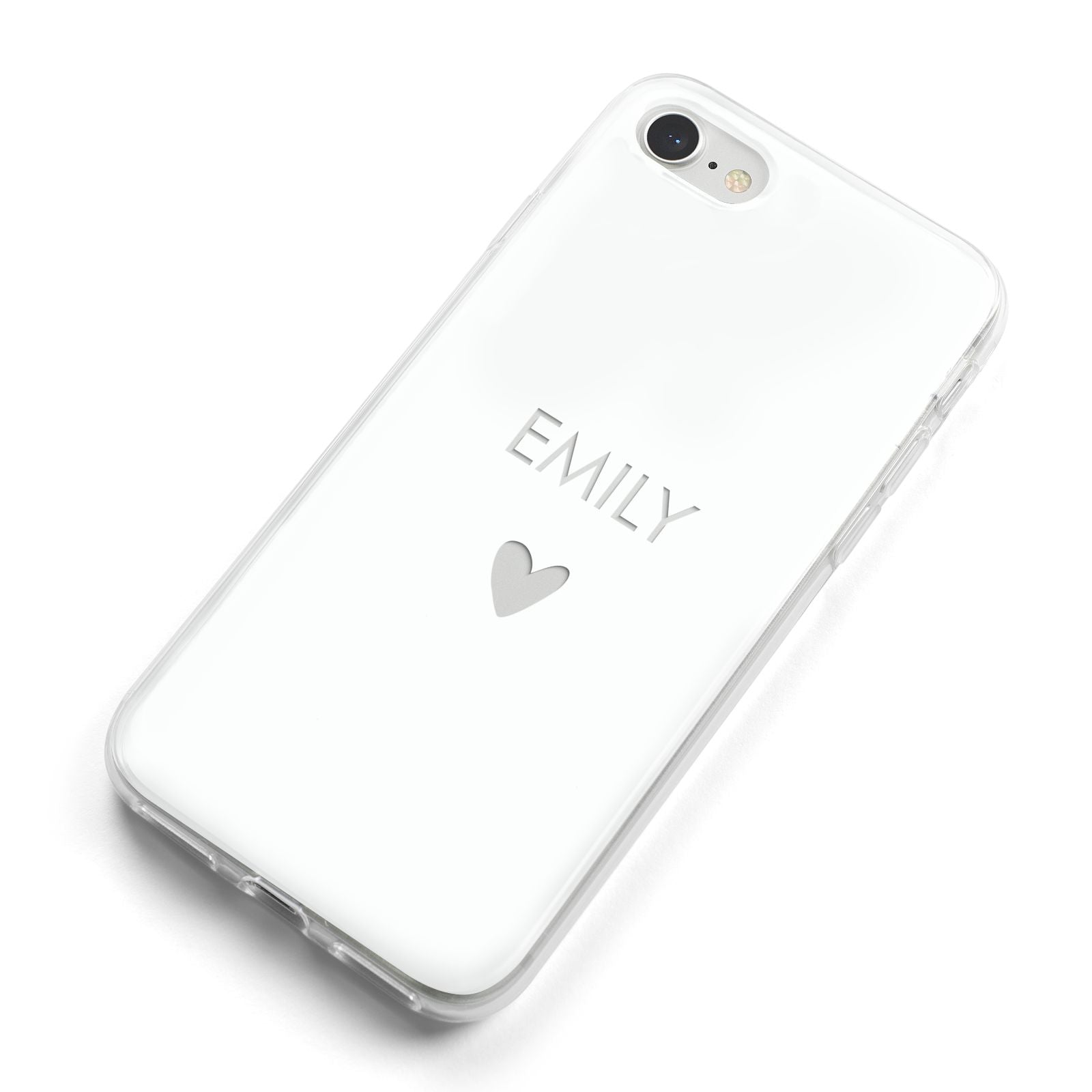 Personalised Cutout Name Heart Clear White iPhone 8 Bumper Case on Silver iPhone Alternative Image
