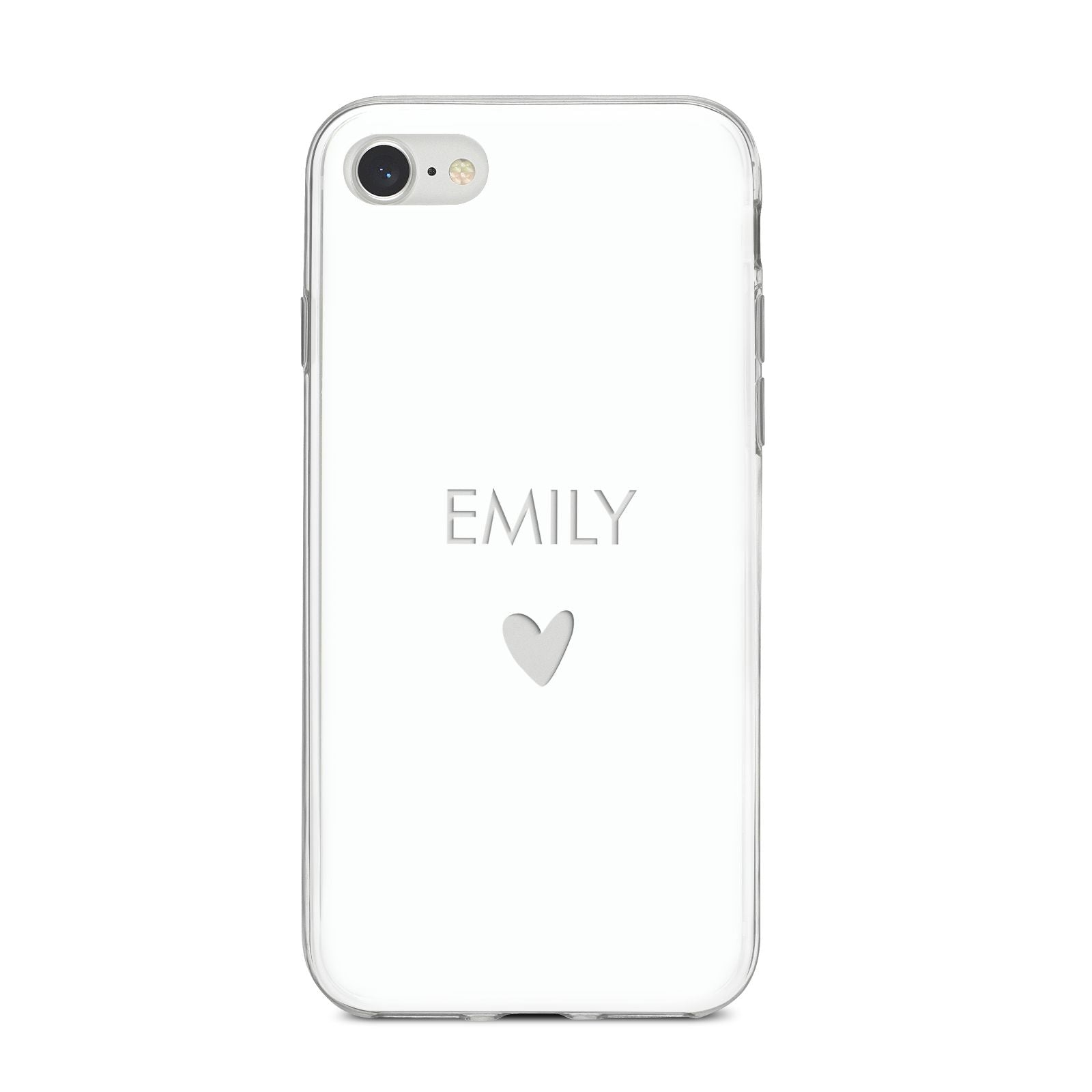 Personalised Cutout Name Heart Clear White iPhone 8 Bumper Case on Silver iPhone