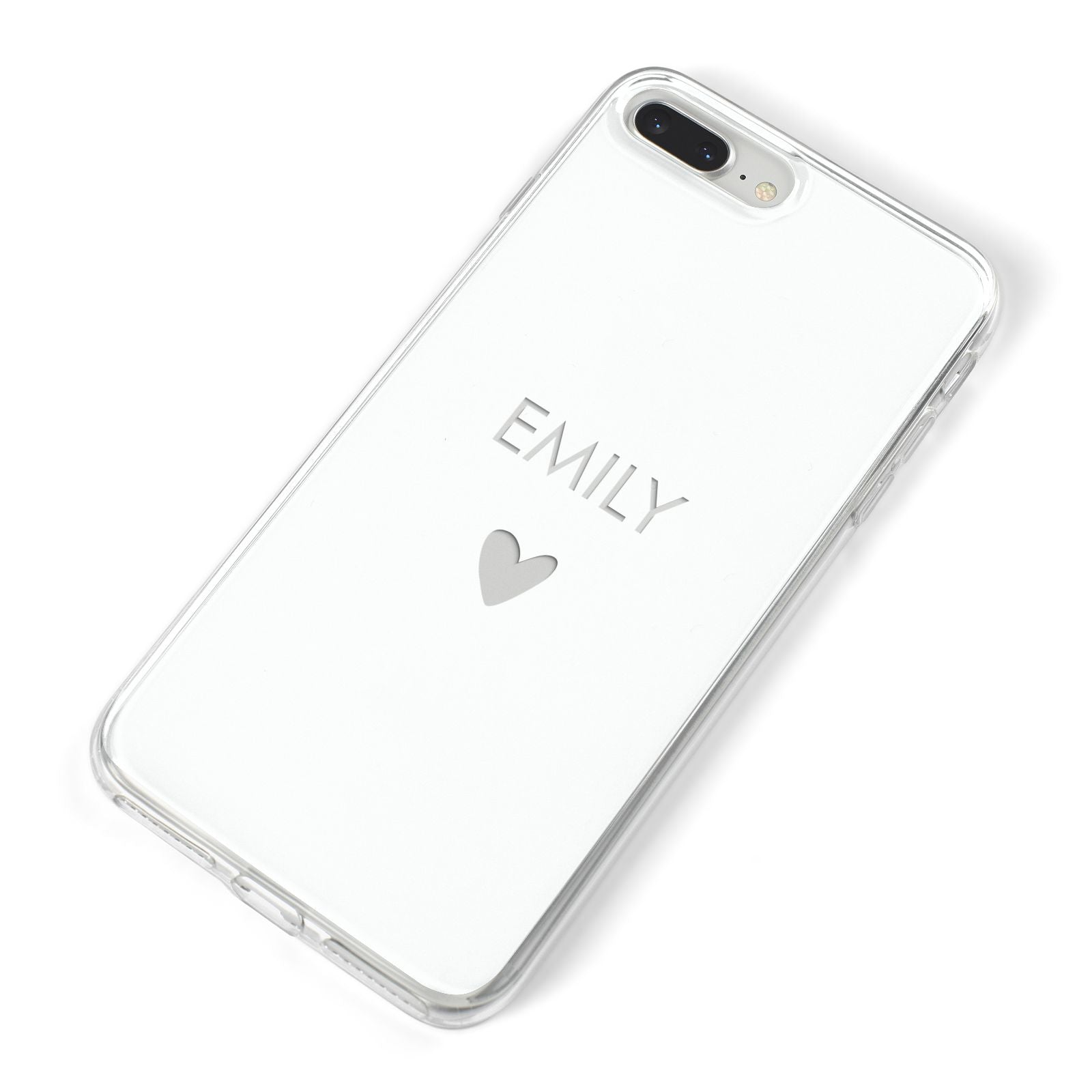 Personalised Cutout Name Heart Clear White iPhone 8 Plus Bumper Case on Silver iPhone Alternative Image