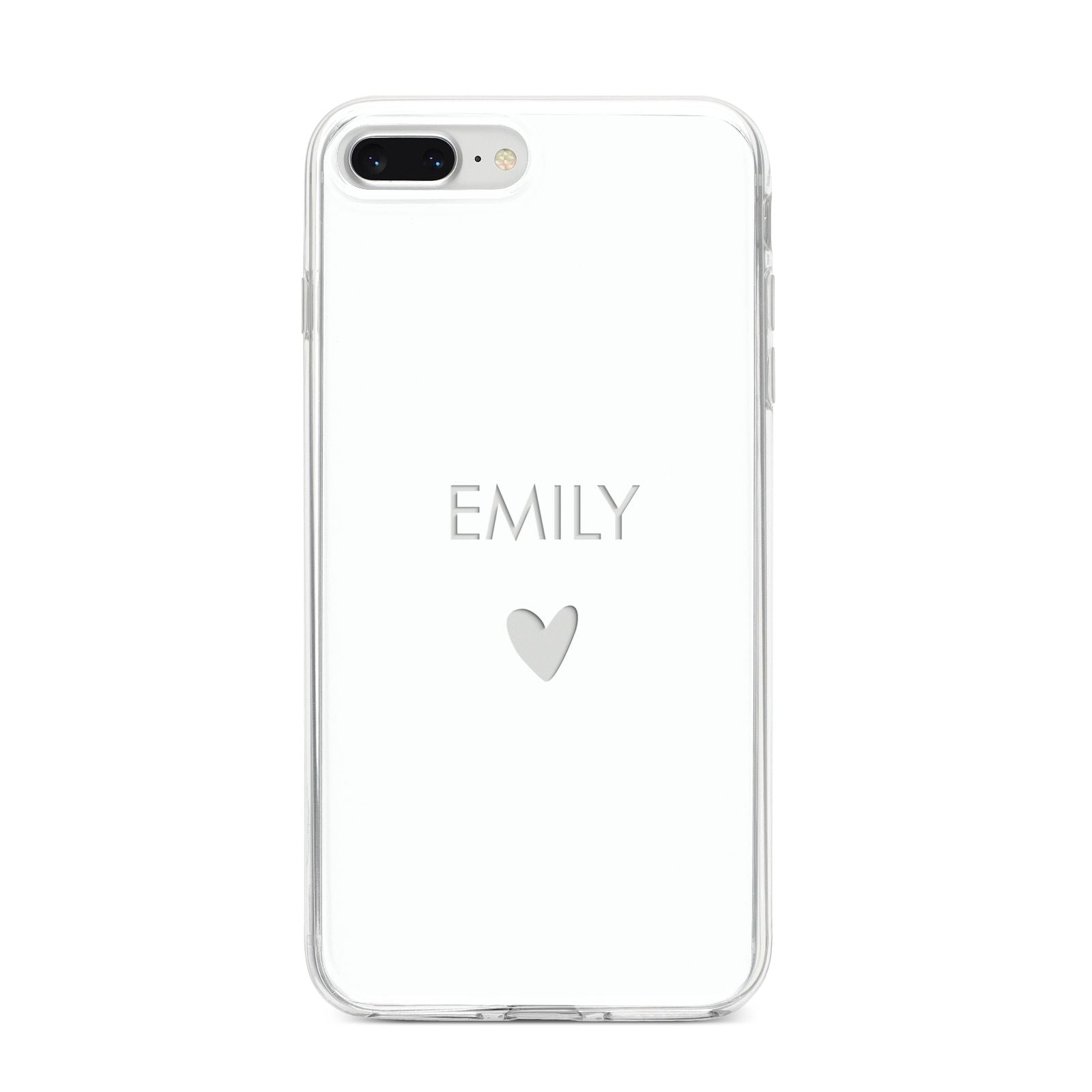 Personalised Cutout Name Heart Clear White iPhone 8 Plus Bumper Case on Silver iPhone