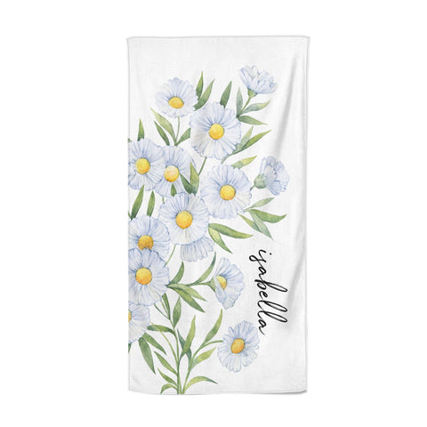 Personalised Daisy Flower Beach Towel