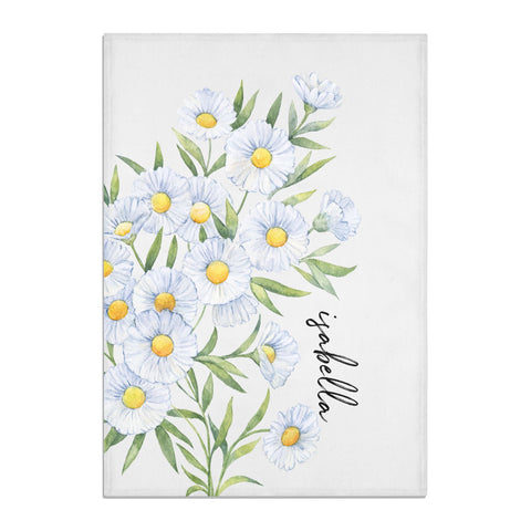 Personalised Daisy Flower Tea Towel