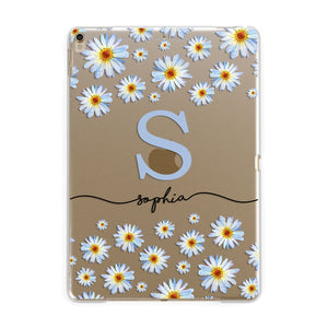 Personalised Daisy Initial Name Apple iPad Gold Case