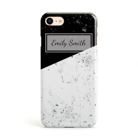Personalised Black White Marble Effect Name Initials Apple iPhone Case