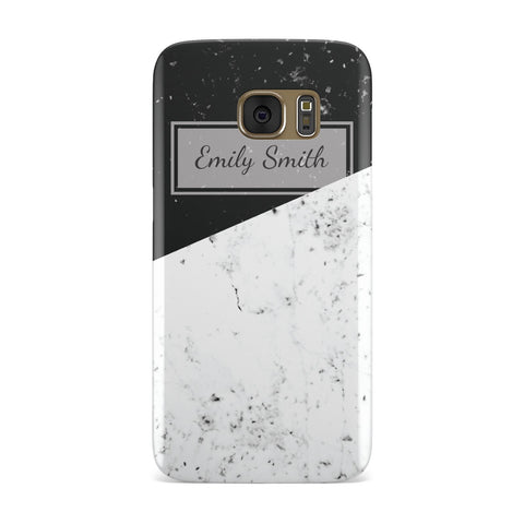 Personalised Black White Marble Effect Name Initials Samsung Galaxy Case