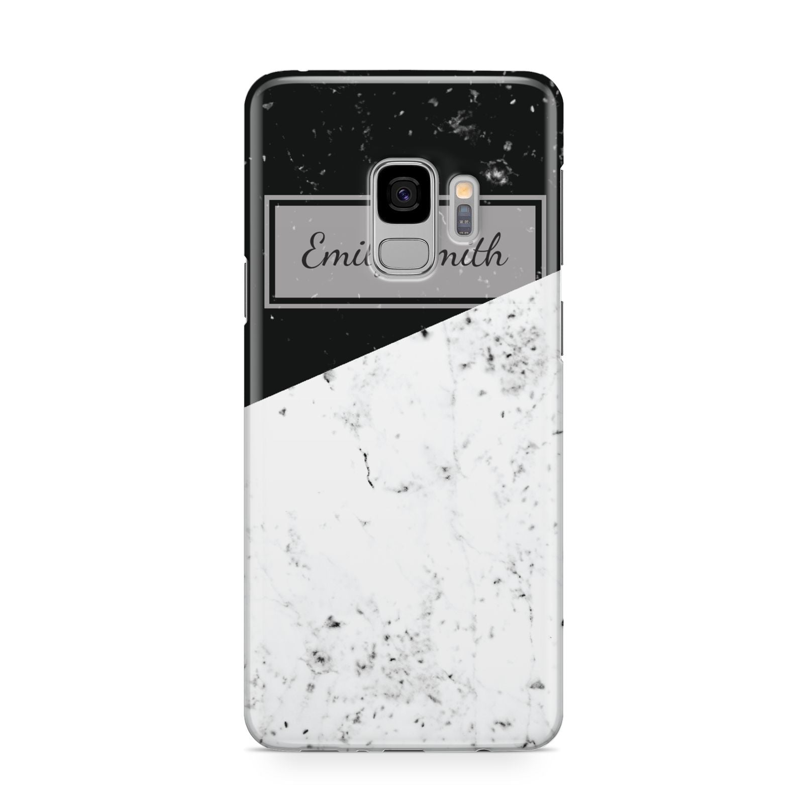 Personalised Day Night Marble Name Initials Samsung Galaxy S9 Case