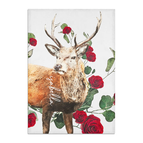 Personalised Deer Name Tea Towel