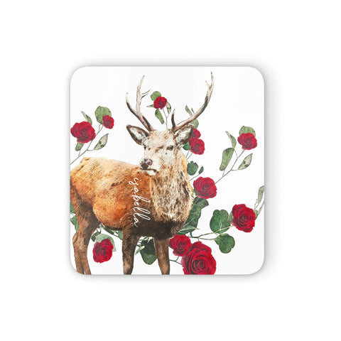 Personalised Deer Name Coasters set of 4