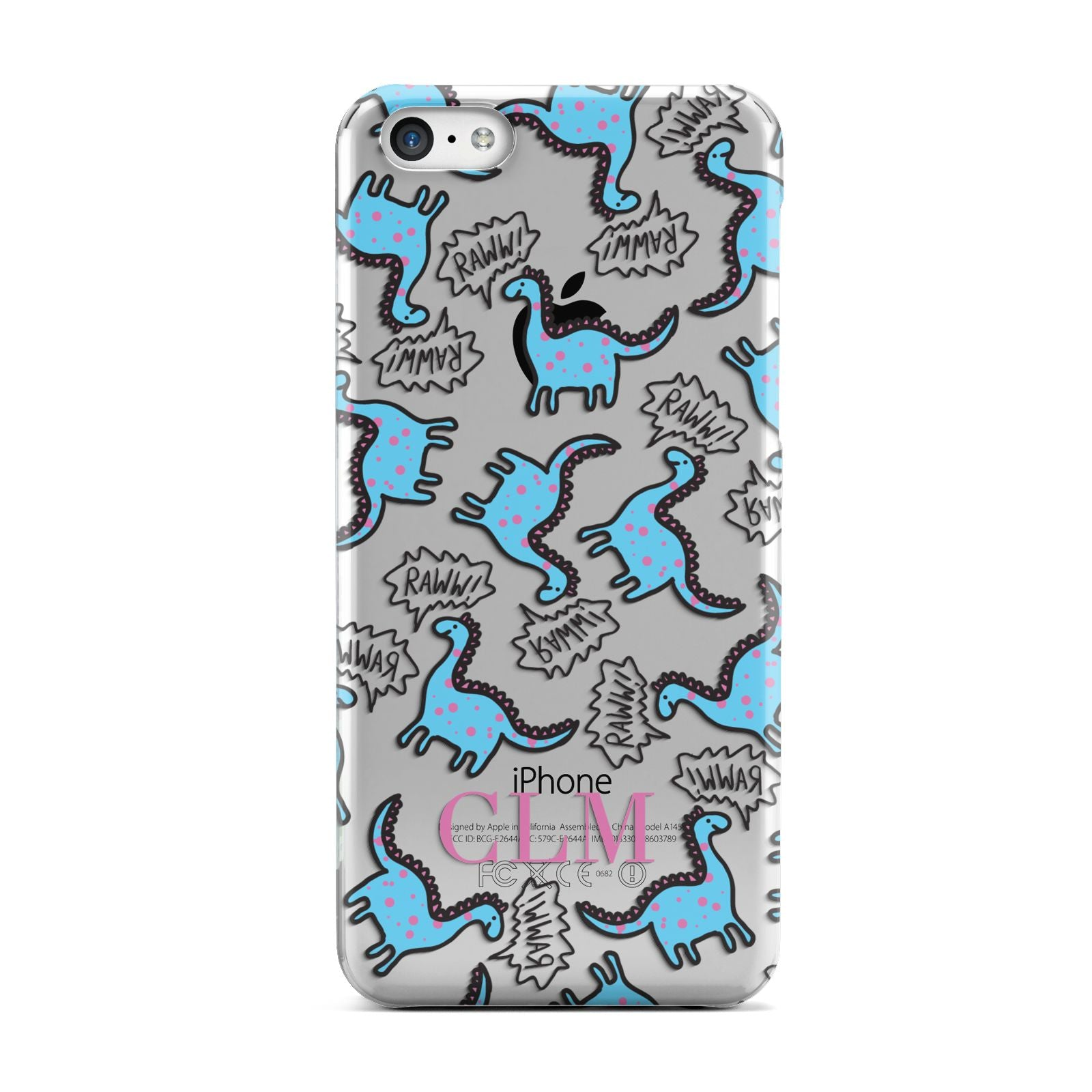 Personalised Dino Initials Clear Apple iPhone 5c Case