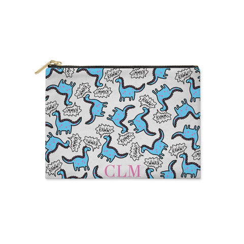Personalised Dino Initials Clear Clutch Bag