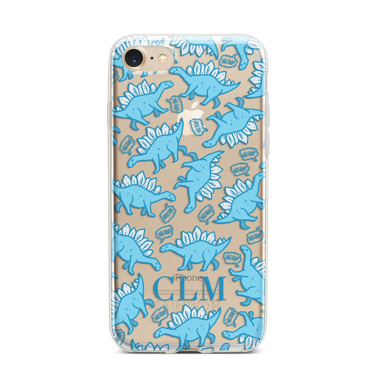 Personalised Dinosaur Initials iPhone 7 Bumper Case on Gold iPhone