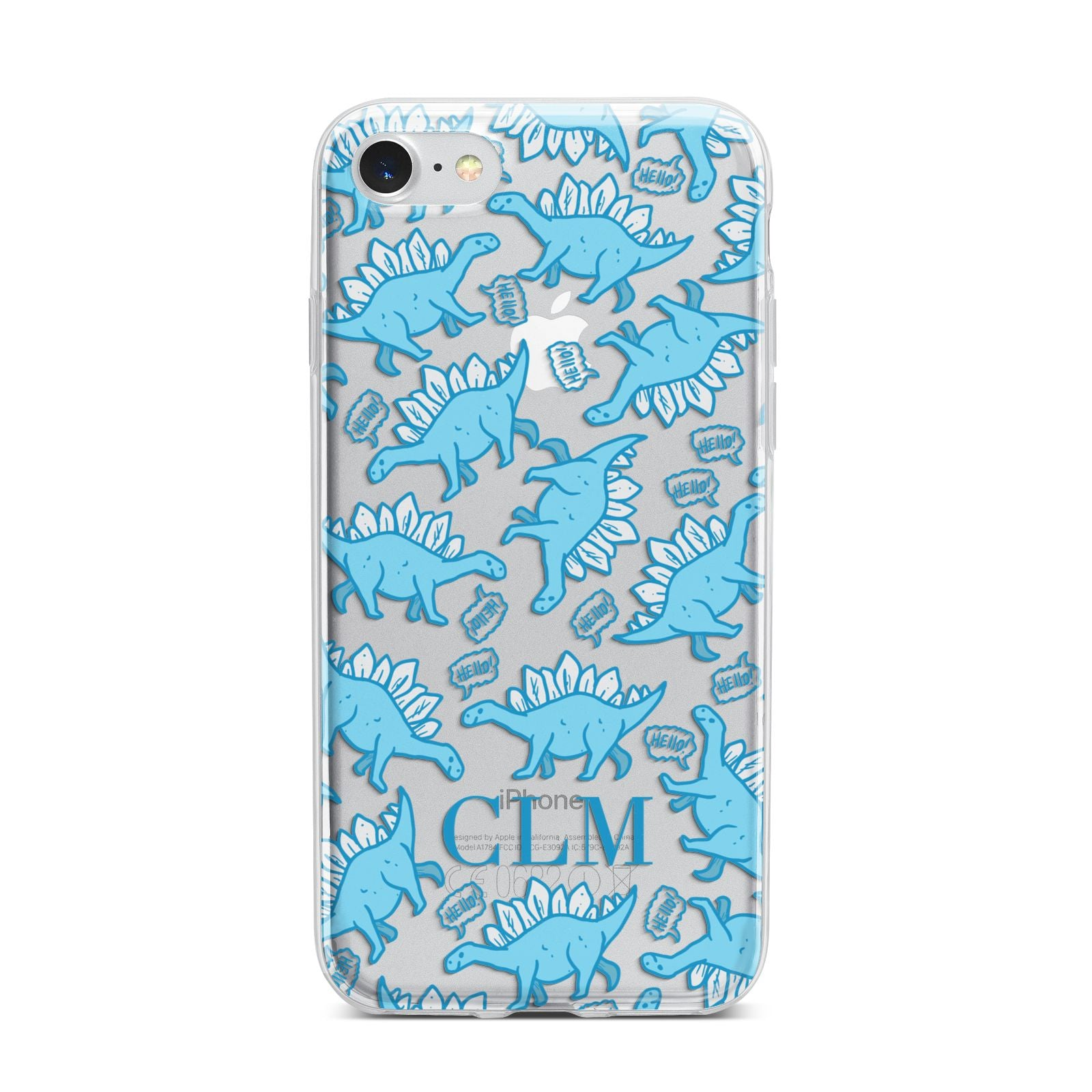 Personalised Dinosaur Initials iPhone 7 Bumper Case on Silver iPhone