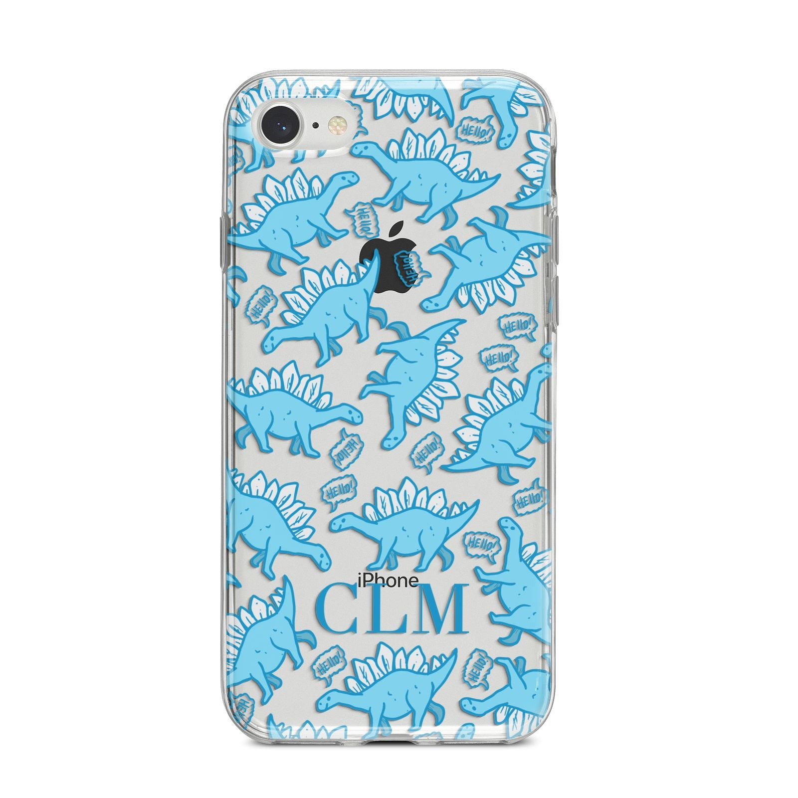 Personalised Dinosaur Initials iPhone 8 Bumper Case on Silver iPhone