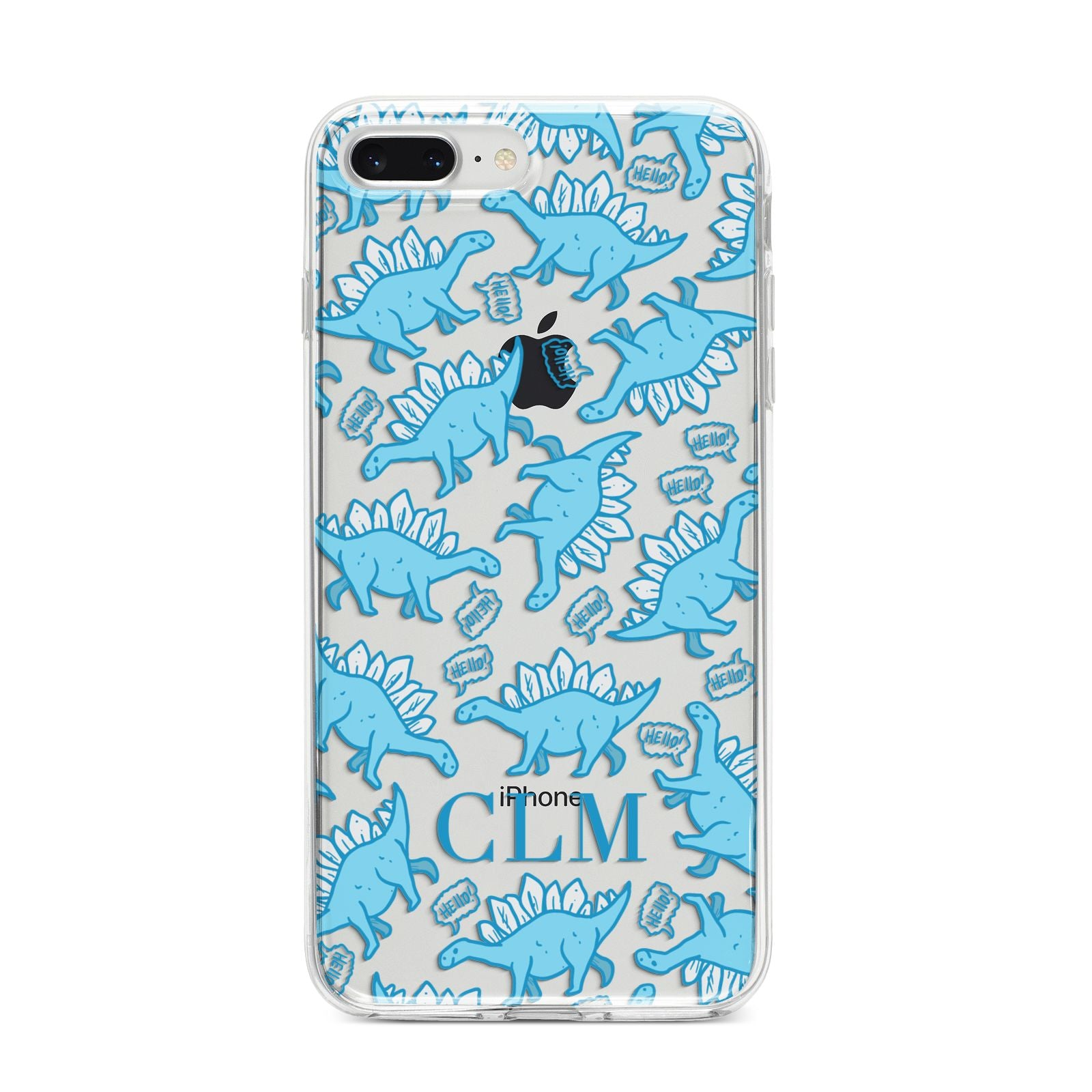 Personalised Dinosaur Initials iPhone 8 Plus Bumper Case on Silver iPhone