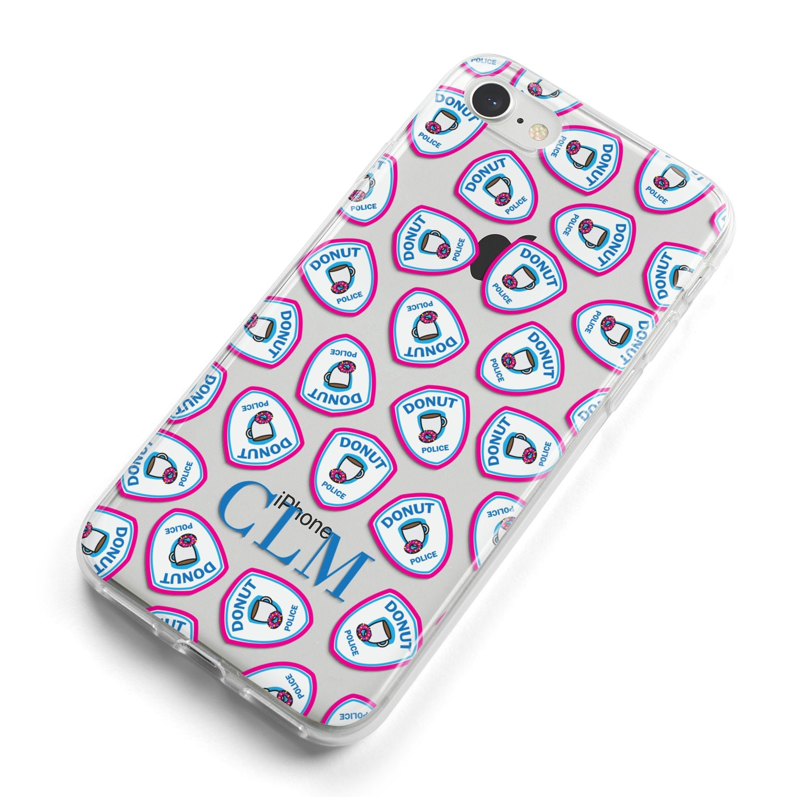 Personalised Donut Police Initials iPhone 8 Bumper Case on Silver iPhone Alternative Image