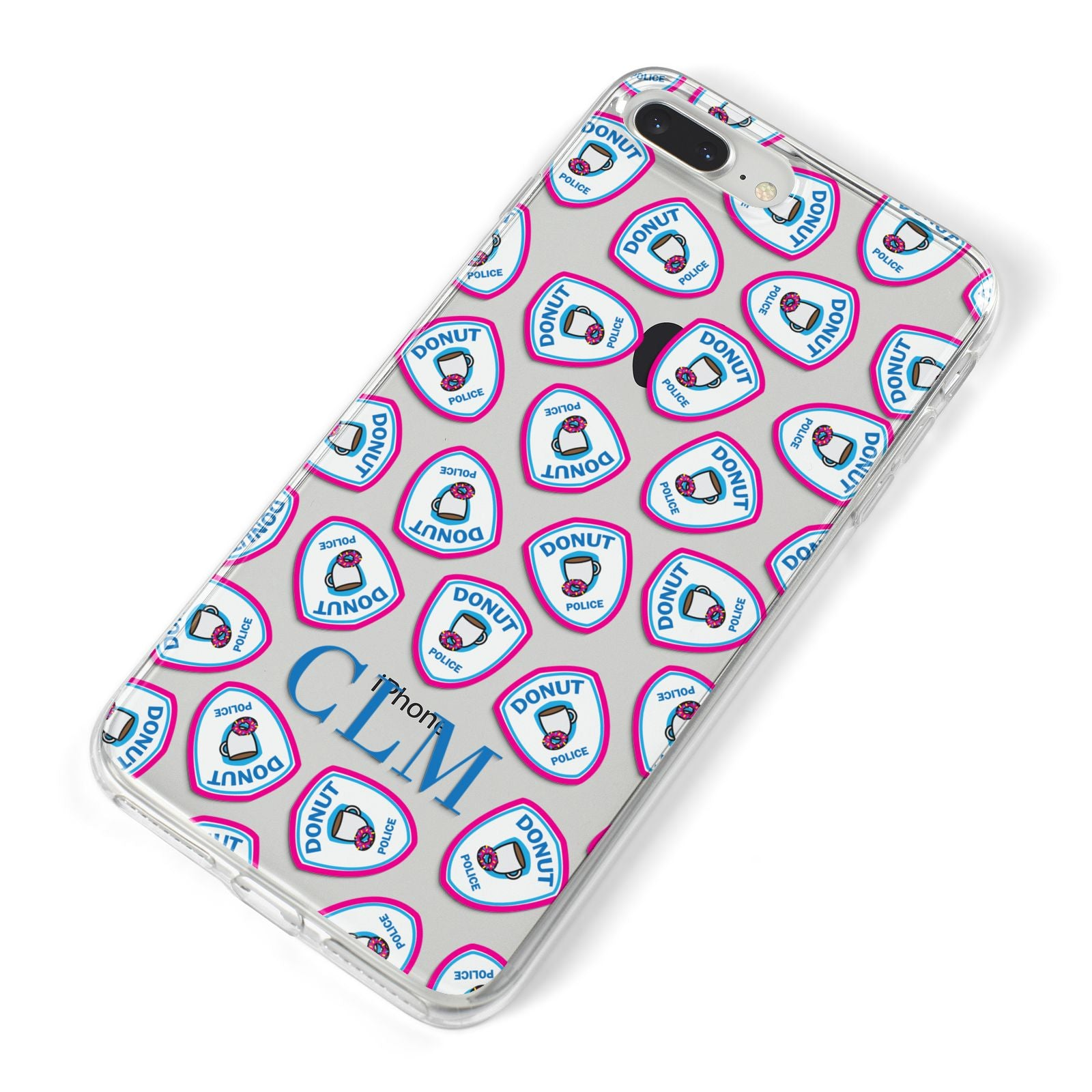 Personalised Donut Police Initials iPhone 8 Plus Bumper Case on Silver iPhone Alternative Image