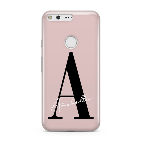Personalised Dusty Pink Initial Google Case