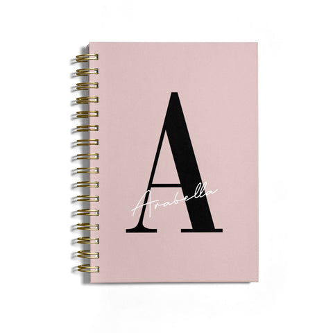 Personalised Dusty Pink Initial Notebook