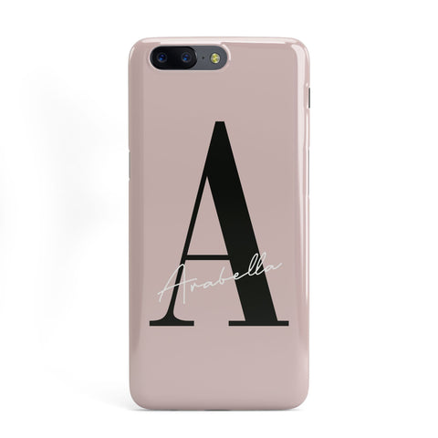 Personalised Dusty Pink Initial OnePlus Case