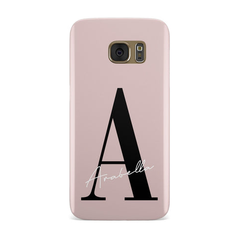 Personalised Dusty Pink Initial Samsung Galaxy Case