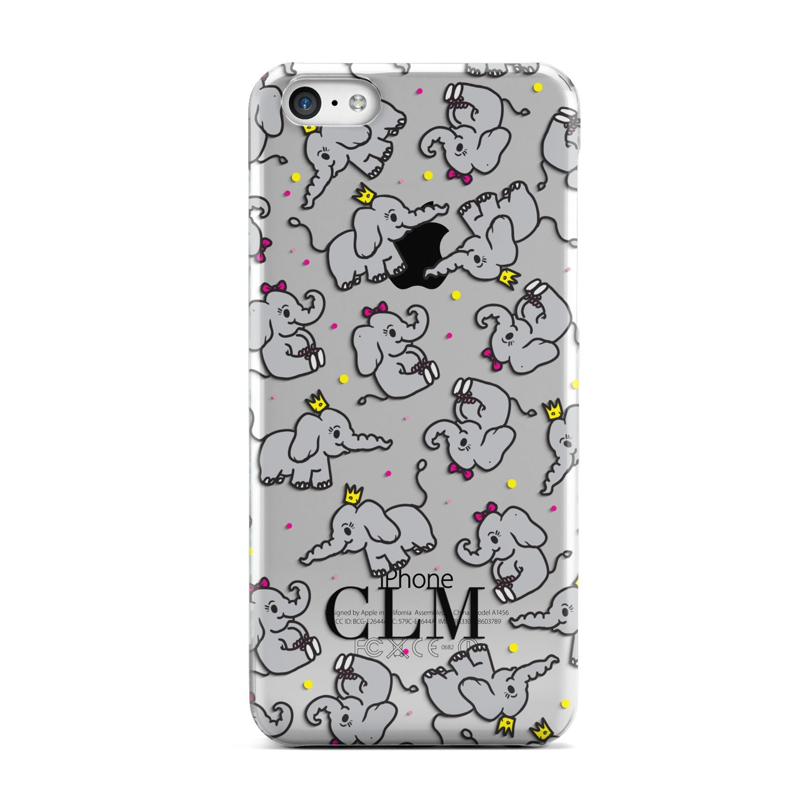 Personalised Elephant Initials Clear Apple iPhone 5c Case
