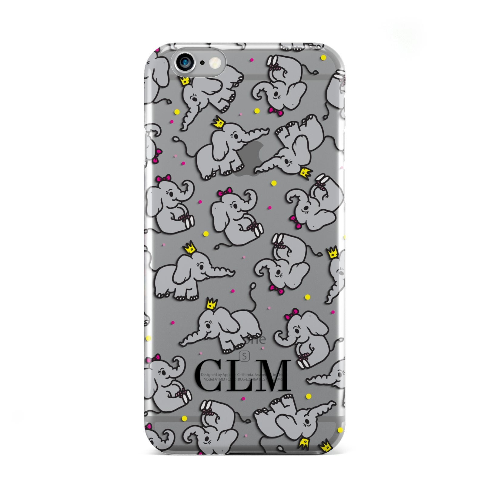 Personalised Elephant Initials Clear Apple iPhone 6 Case
