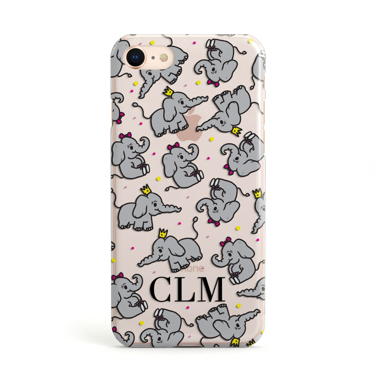Personalised Elephant Initials Clear Apple iPhone Case