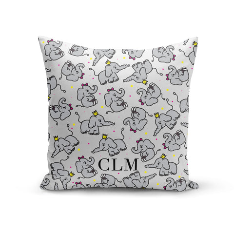 Personalised Elephant Initials Clear Cushion