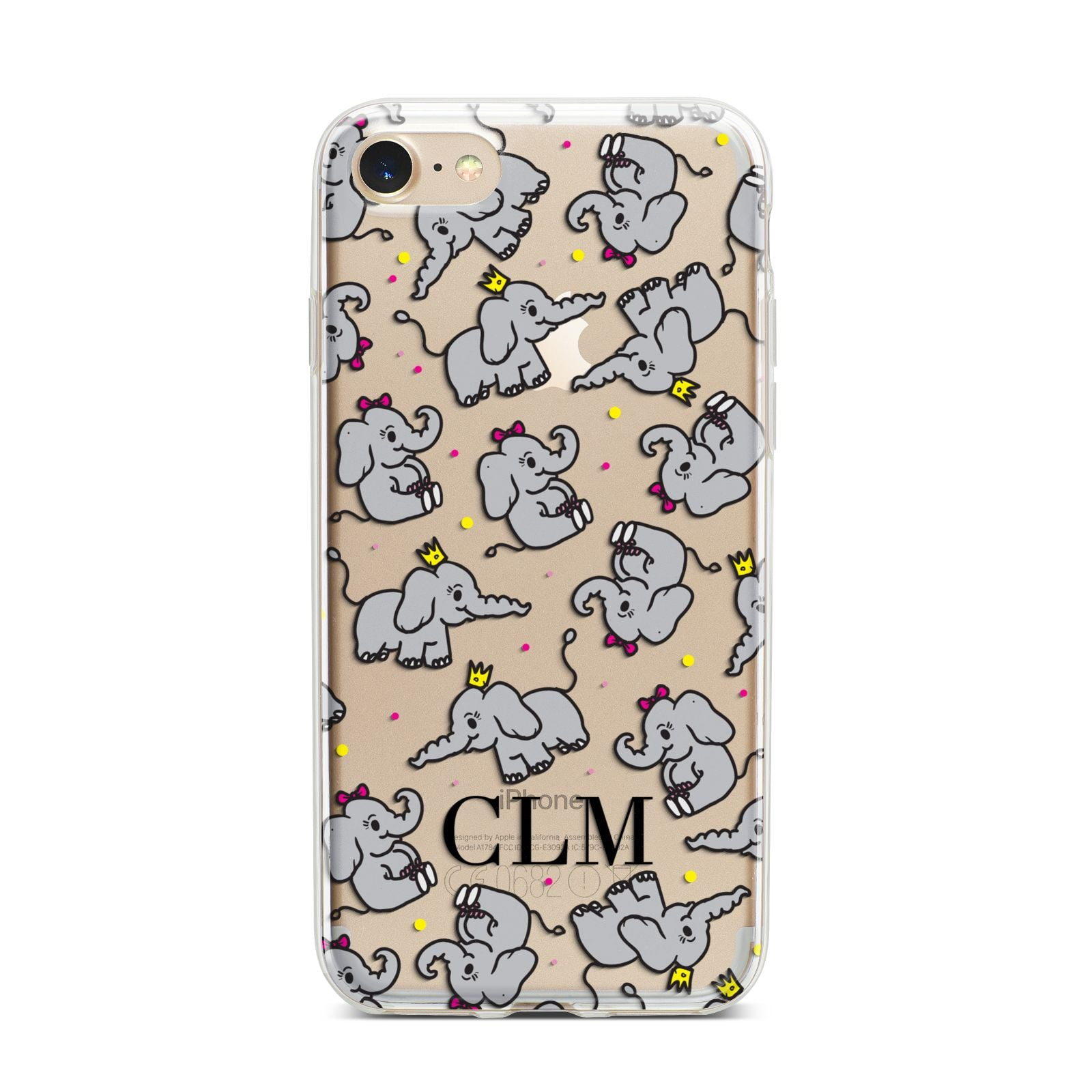 Personalised Elephant Initials Clear iPhone 7 Bumper Case on Gold iPhone