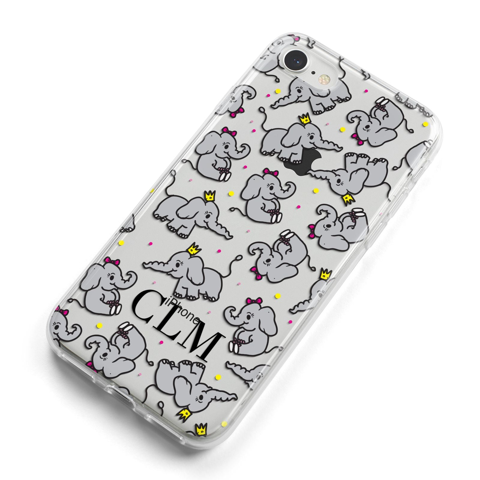 Personalised Elephant Initials Clear iPhone 8 Bumper Case on Silver iPhone Alternative Image