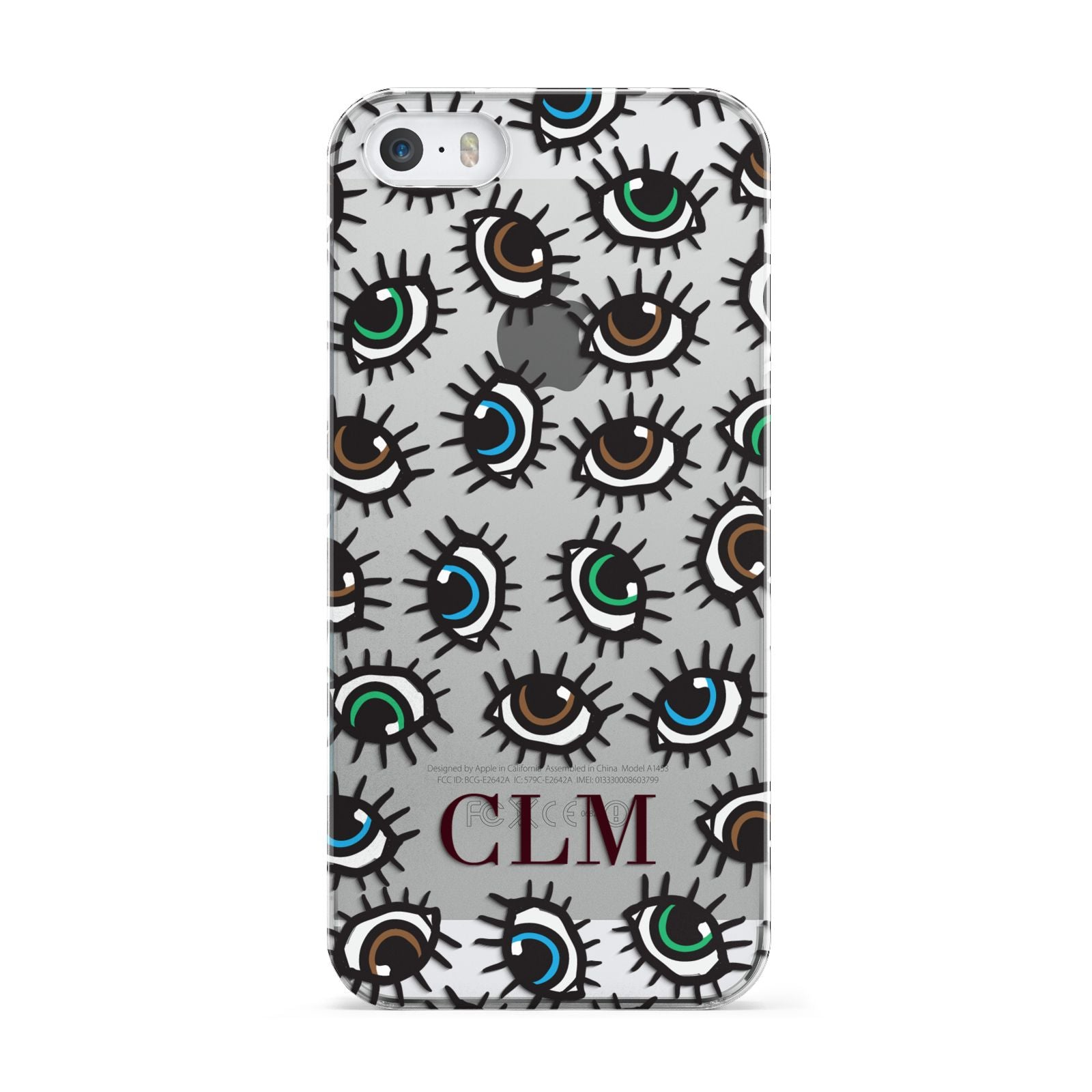 Personalised Eyes Initials Clear Apple iPhone 5 Case