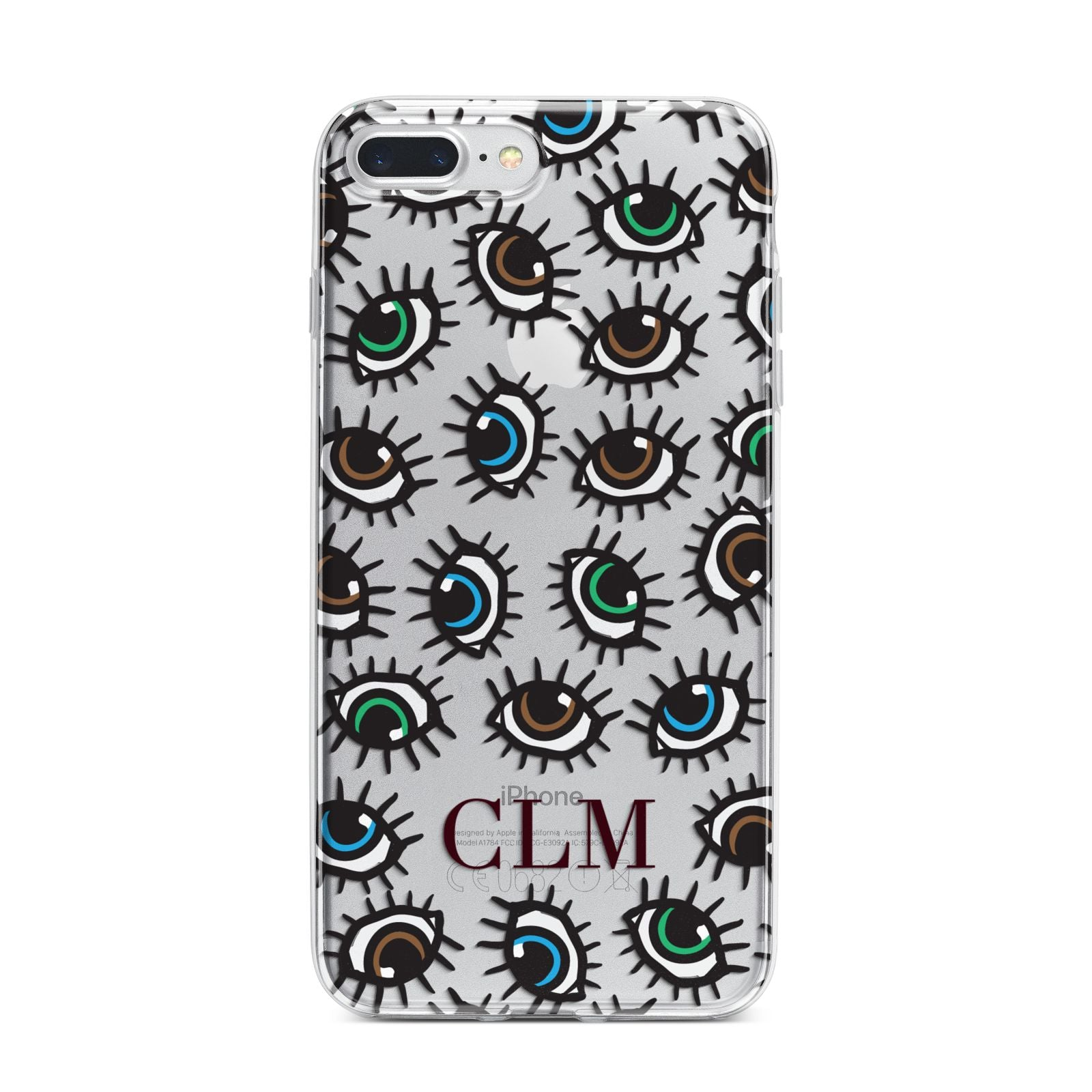 Personalised Eyes Initials Clear iPhone 7 Plus Bumper Case on Silver iPhone
