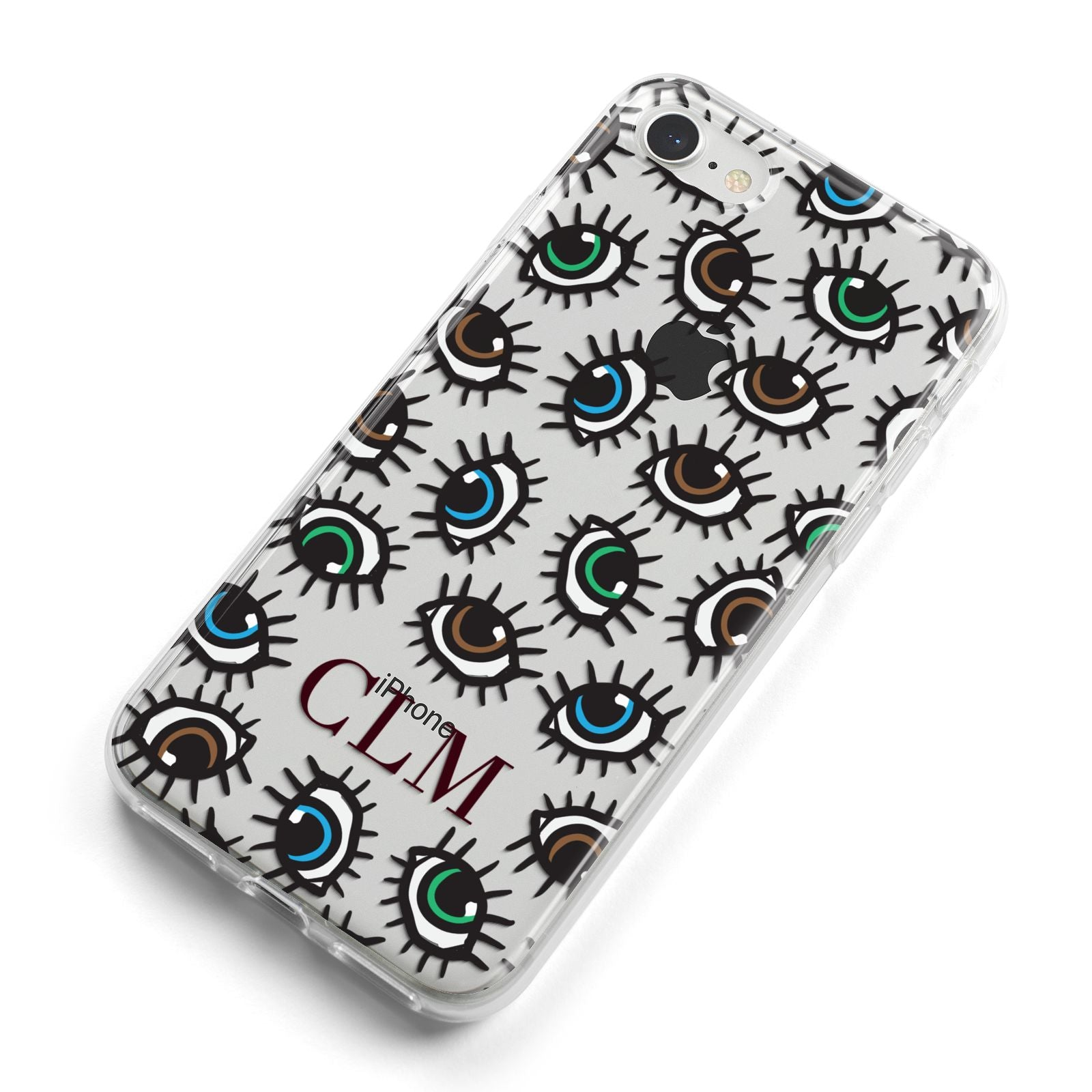 Personalised Eyes Initials Clear iPhone 8 Bumper Case on Silver iPhone Alternative Image
