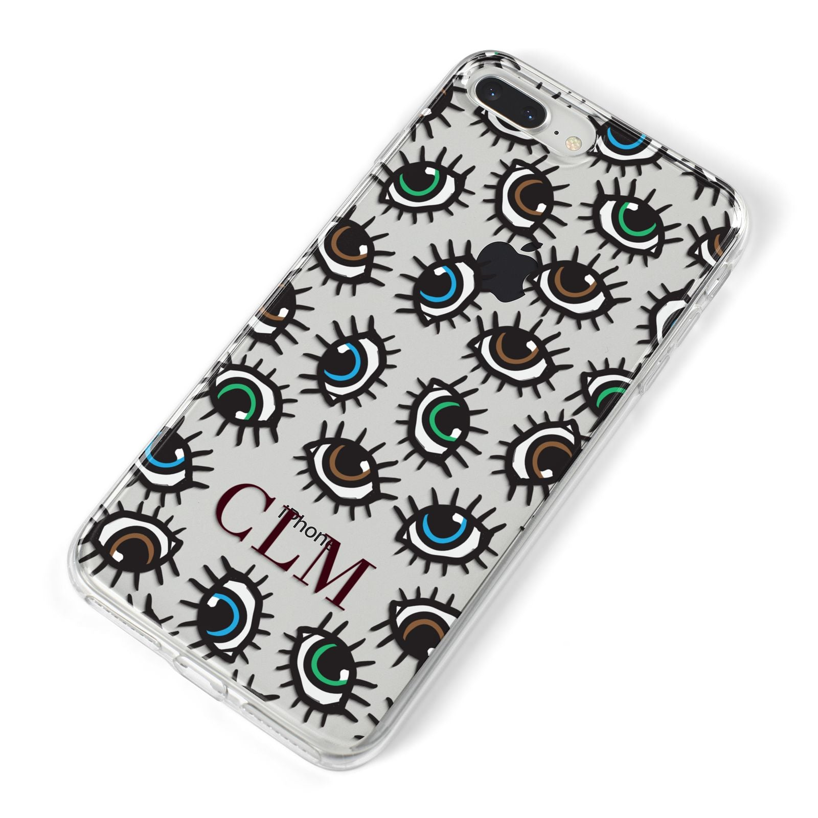 Personalised Eyes Initials Clear iPhone 8 Plus Bumper Case on Silver iPhone Alternative Image