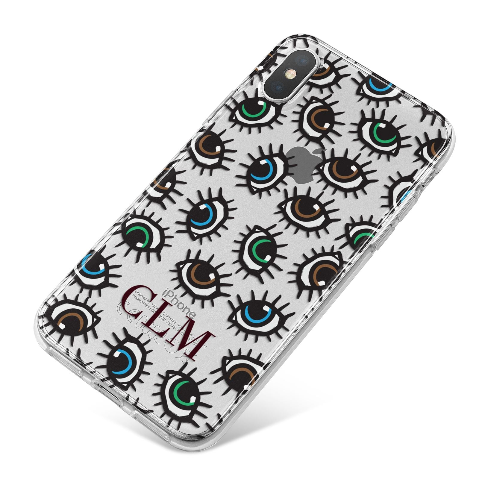 Personalised Eyes Initials Clear iPhone X Bumper Case on Silver iPhone