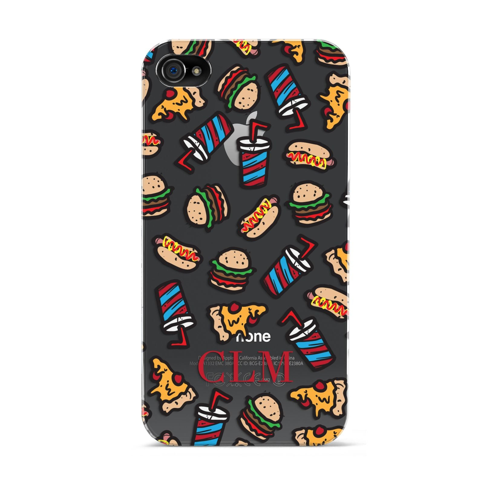 Personalised Fast Food Initials Apple iPhone 4s Case