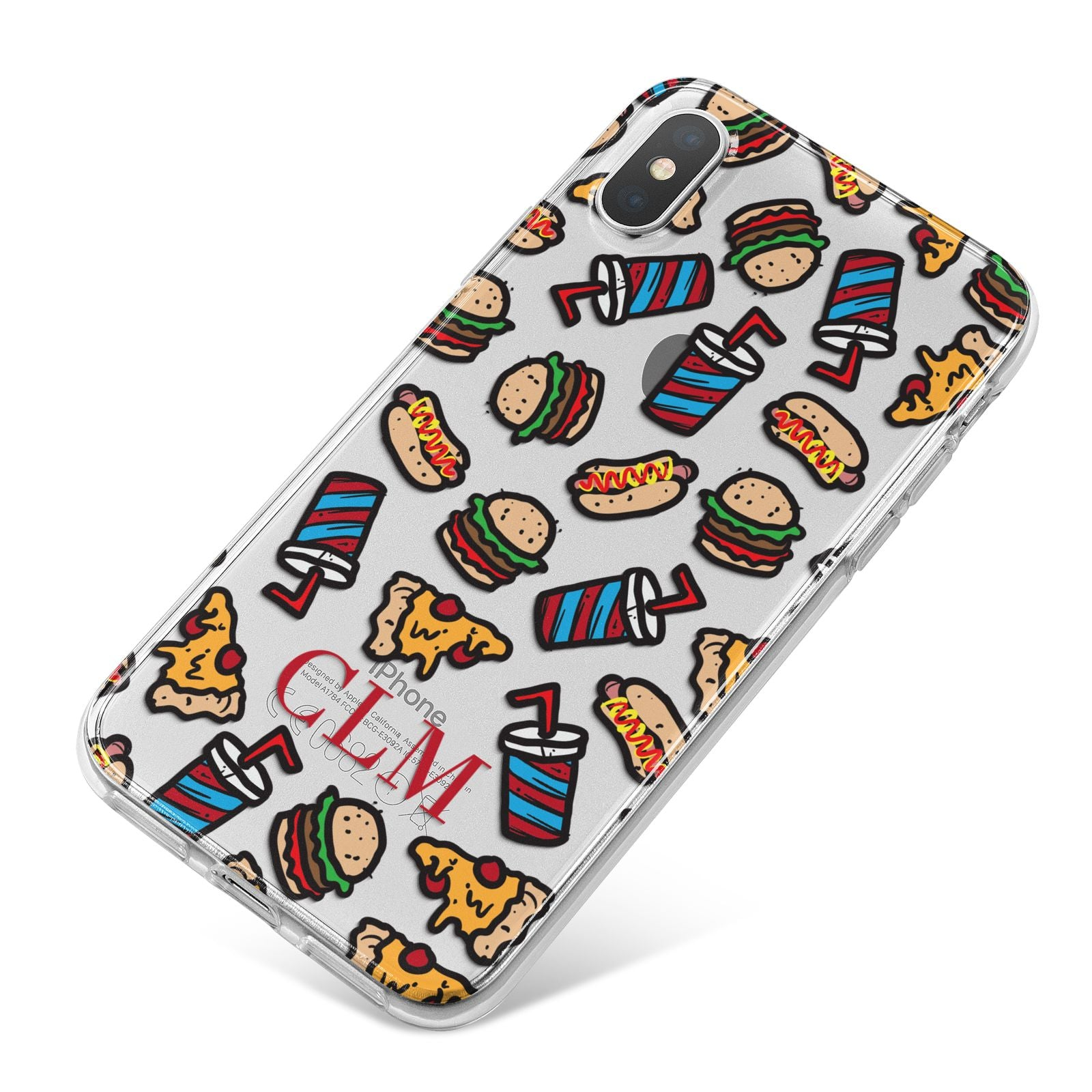 Personalised Fast Food Initials iPhone X Bumper Case on Silver iPhone