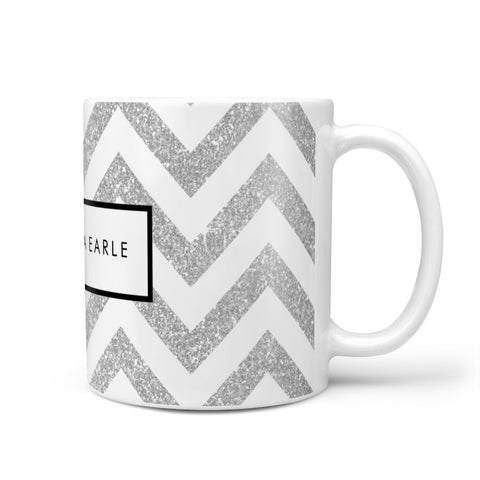 Personalised Faux Glitter Custom Name Initials Mug