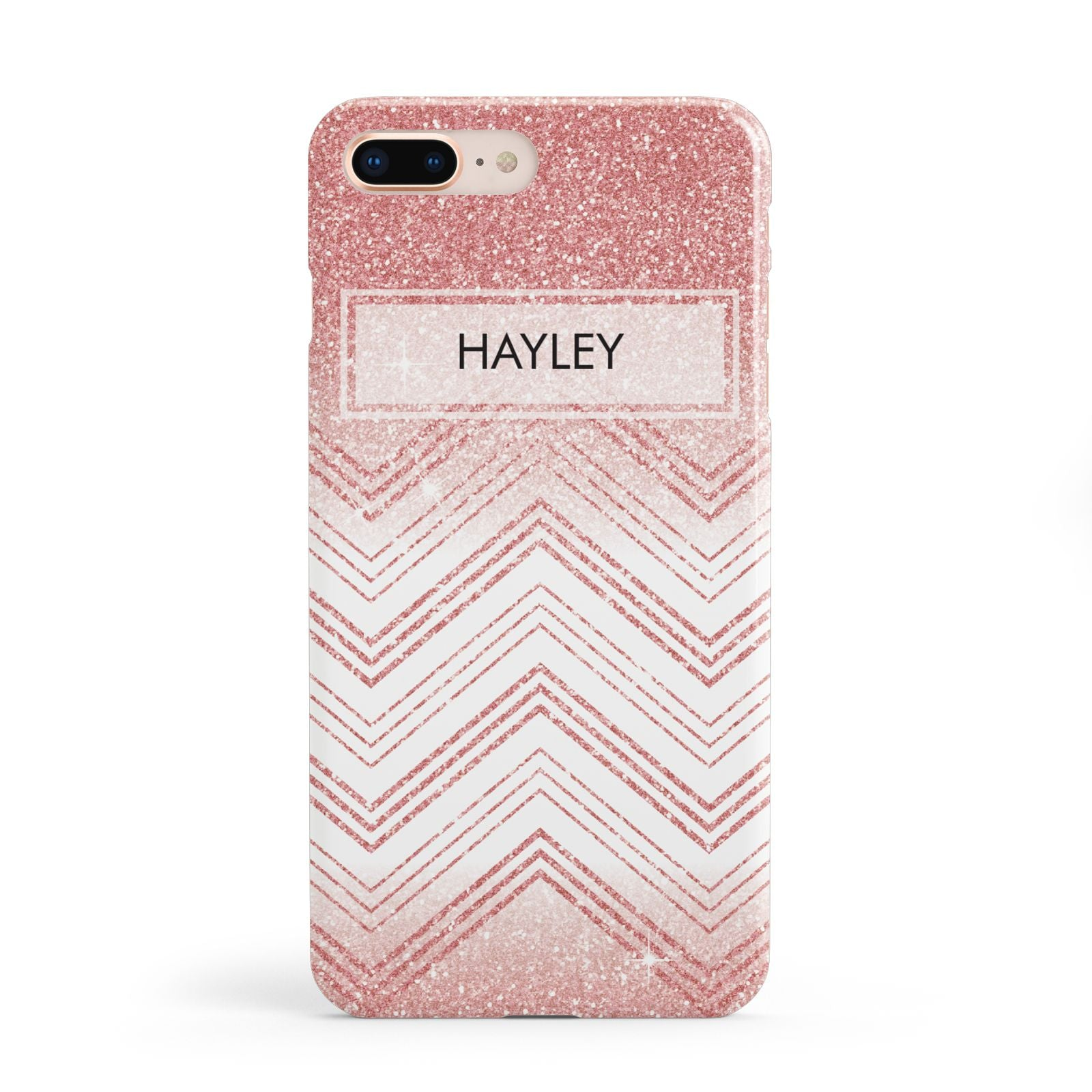 Personalised Faux Glitter Effect Name Initials Apple iPhone 8 Plus Case