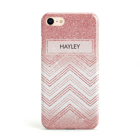 Personalised Faux Glitter Effect Name Initials Apple iPhone Case