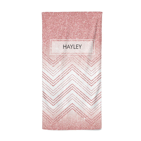 Personalised Faux Glitter Effect Name Initials Beach Towel