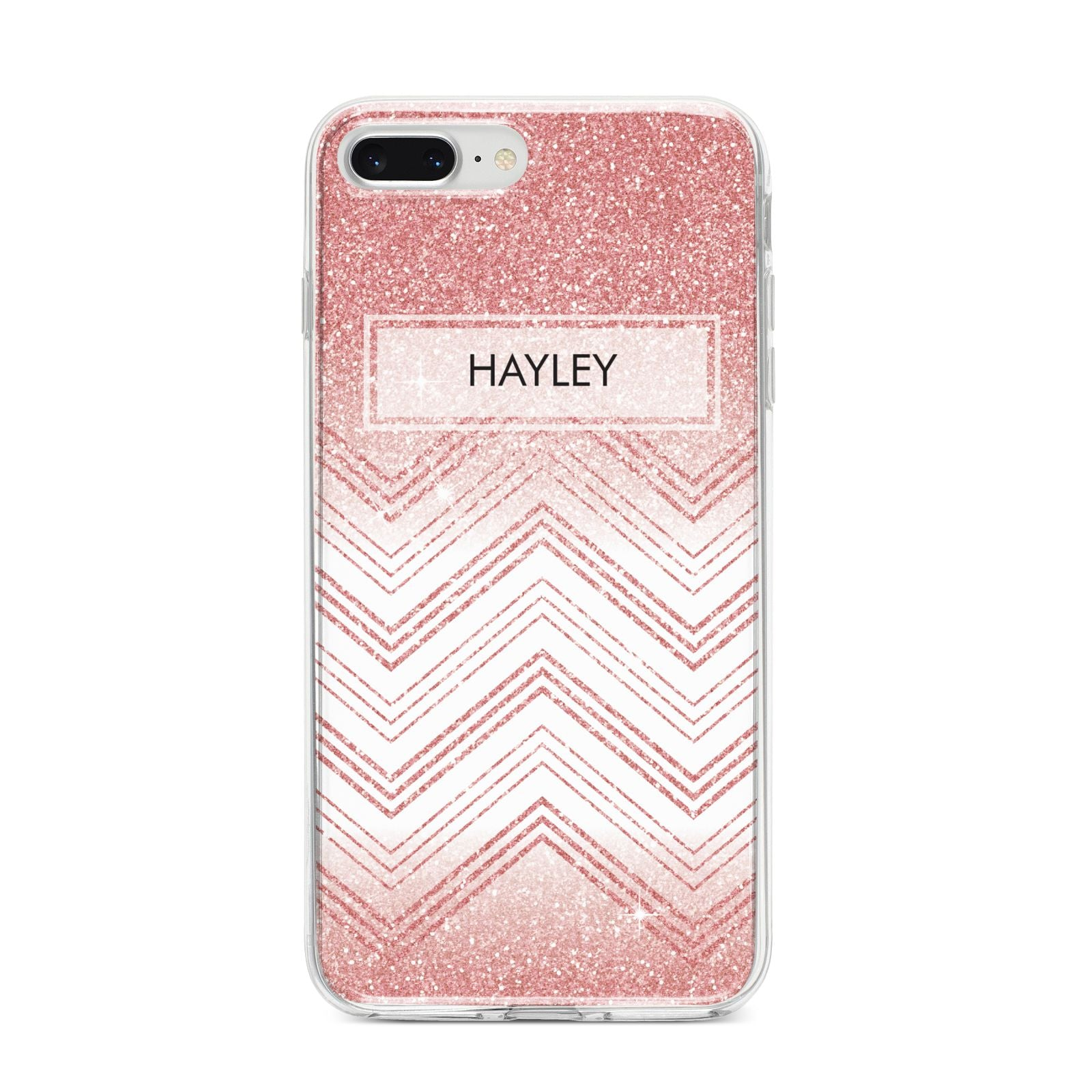 Personalised Faux Glitter Effect Name Initials iPhone 8 Plus Bumper Case on Silver iPhone