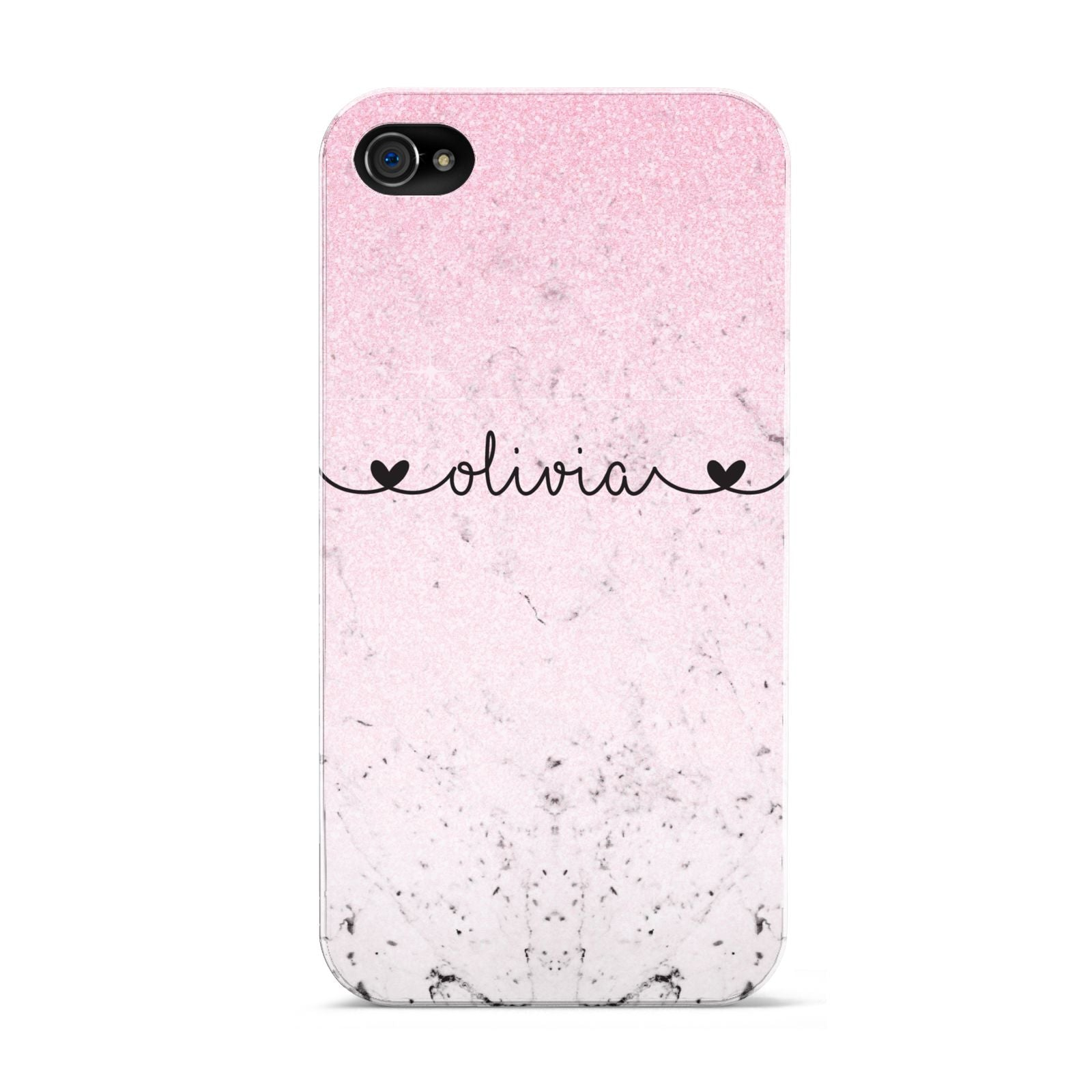 Personalised Faux Glitter Marble Name Apple iPhone 4s Case