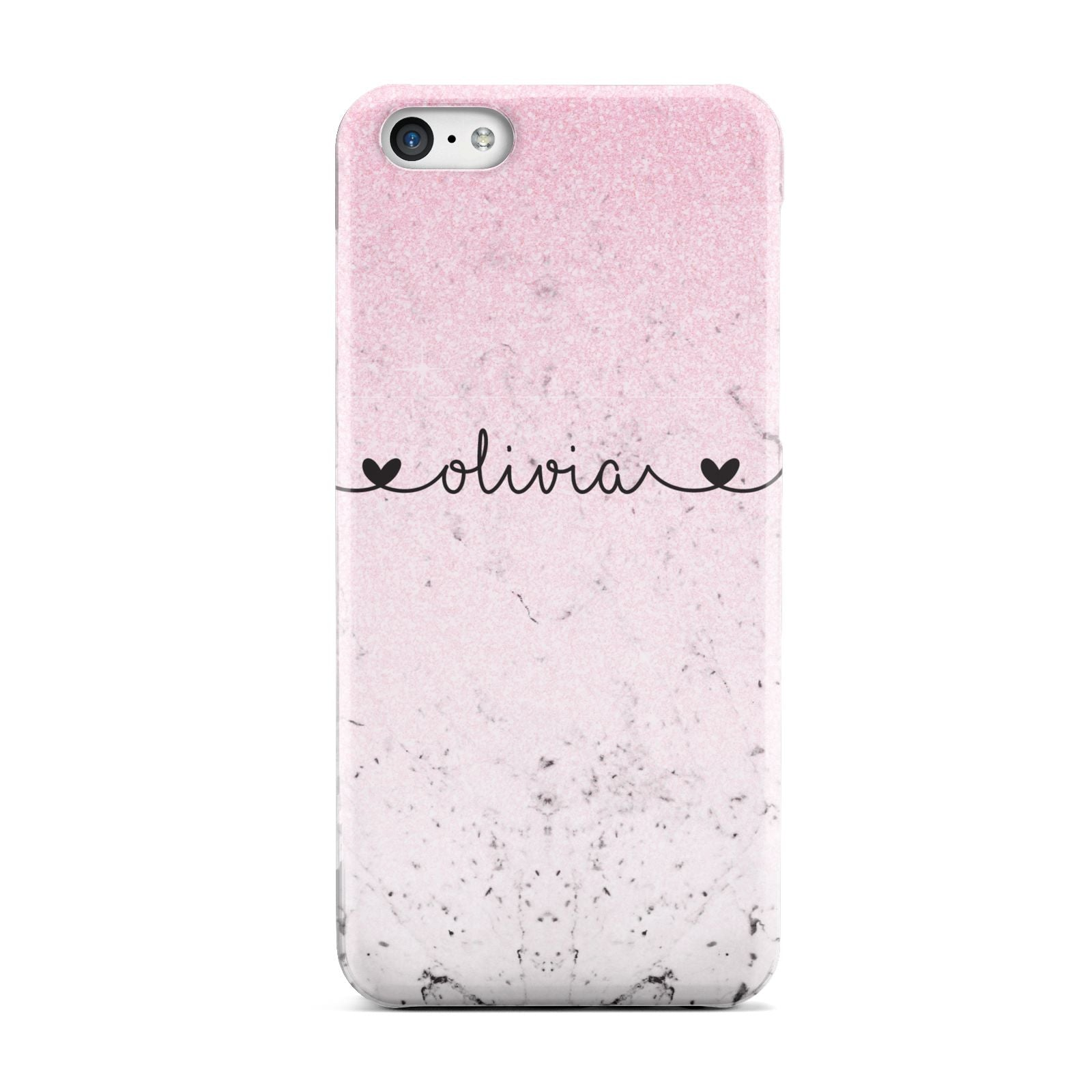 Personalised Faux Glitter Marble Name Apple iPhone 5c Case