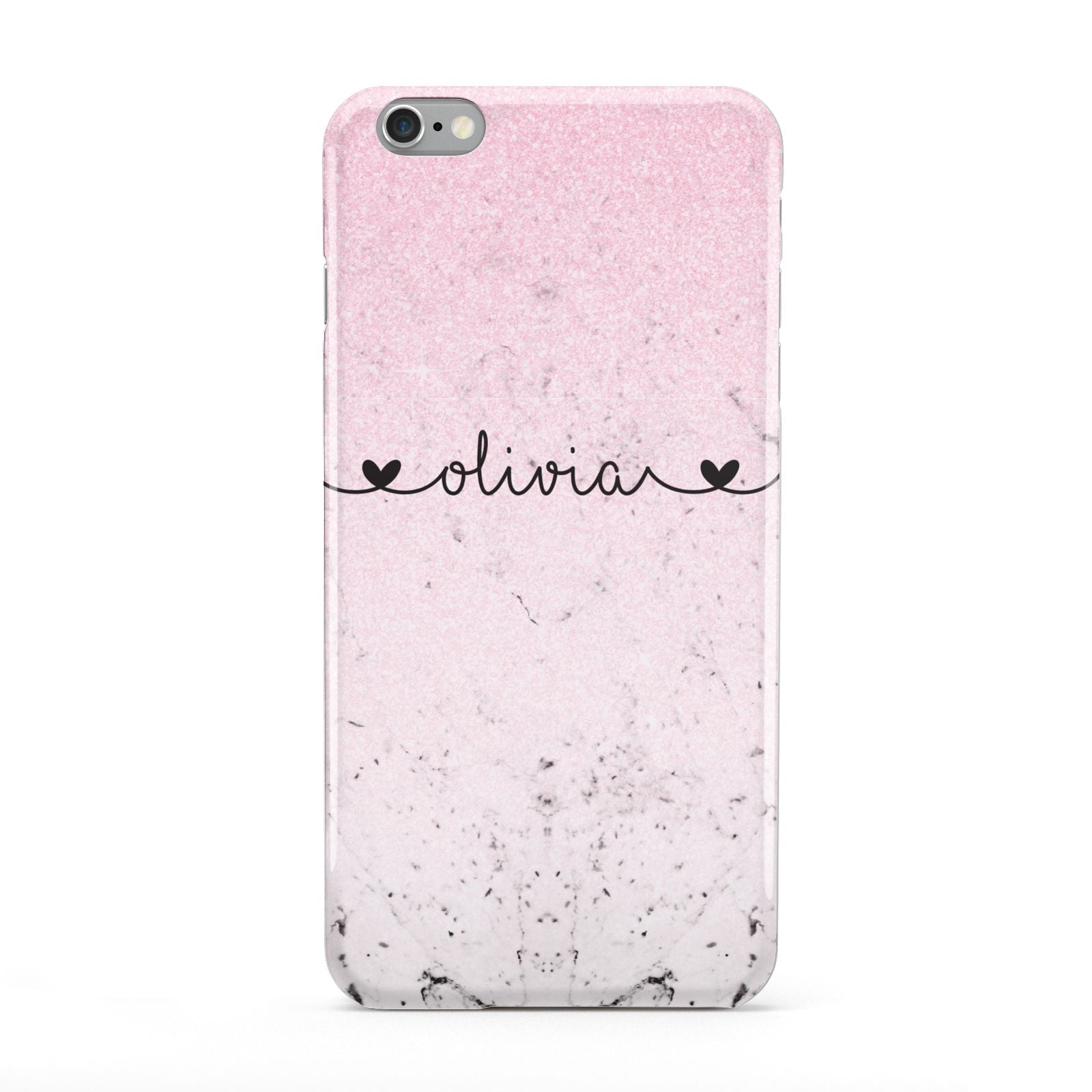 Personalised Faux Glitter Marble Name Apple iPhone 6 Plus Case