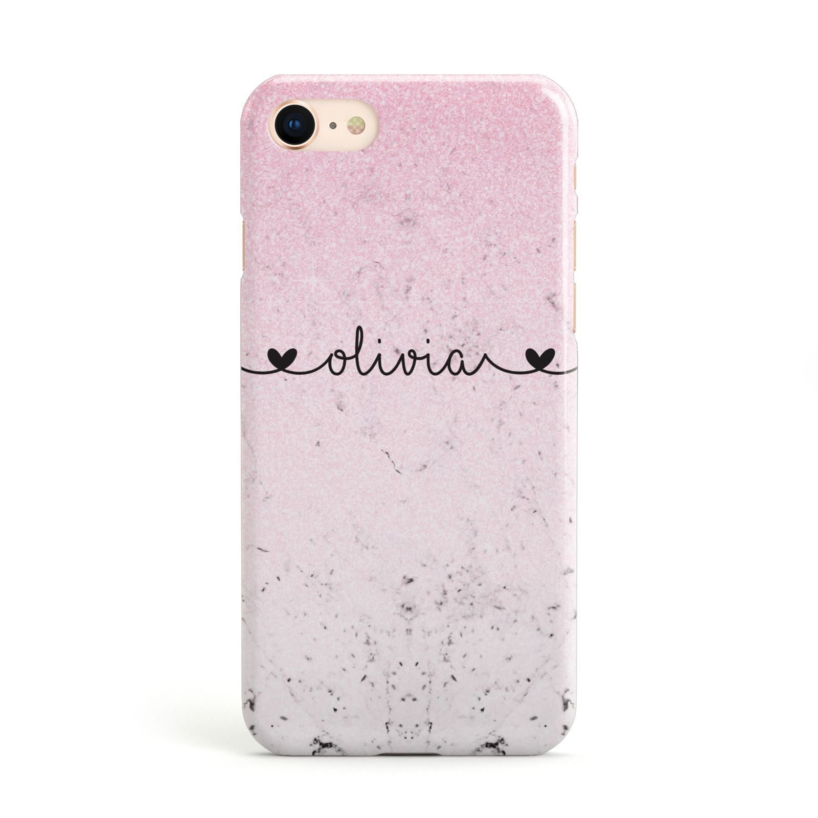 Personalised Faux Glitter Marble Name Apple iPhone Case